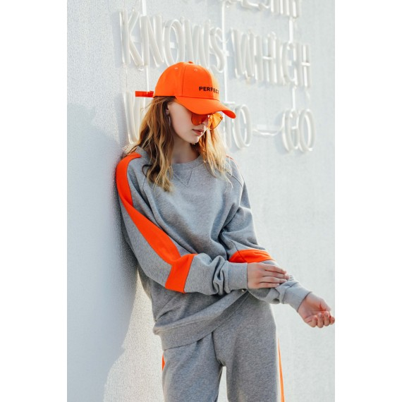 MacyMccoy color matching sweater sports suit-Grey