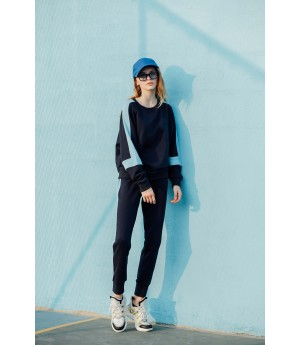 MacyMccoy color matching sweater sports suit-Black