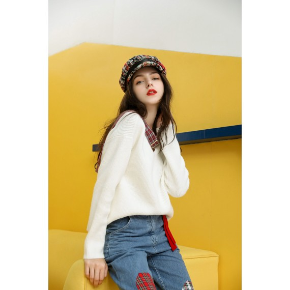 MacyMccoy V collar coloring lace sweater-White