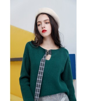 MacyMccoy V collar coloring lace sweater-Green