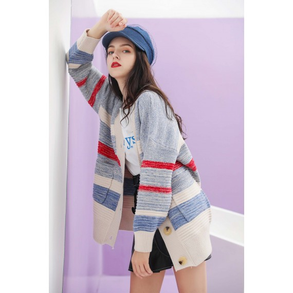 MacyMccoy matching Sweater cardigan-Blue