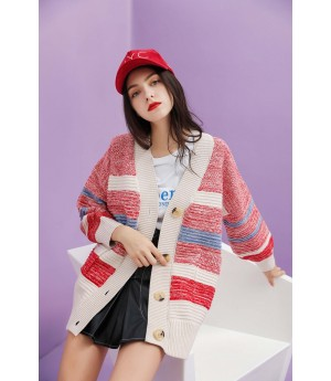 MacyMccoy matching Sweater cardigan-Red