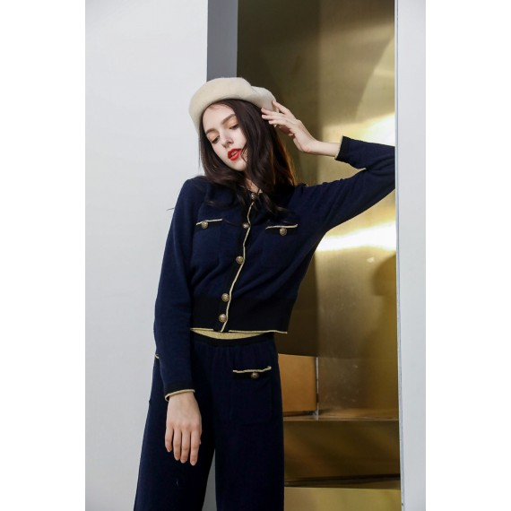 MacyMccoy Mink cashmere suit with a wavy gold lin-Navy Blue