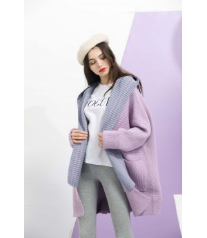 MacyMccoy hat, wool shawl coat-Purple