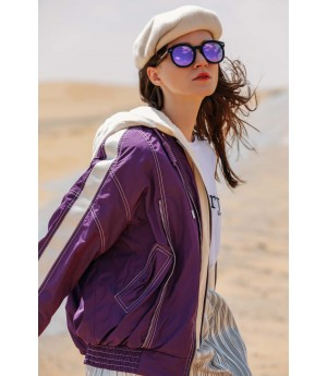 MacyMccoy four color baseball down jacket-Purple