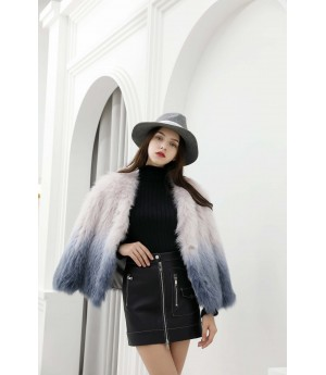 MacyMccoy fox fur gradually changing color woven jacket-Blue