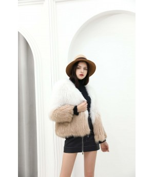 MacyMccoy fox fur gradually changing color woven jacket-Brown