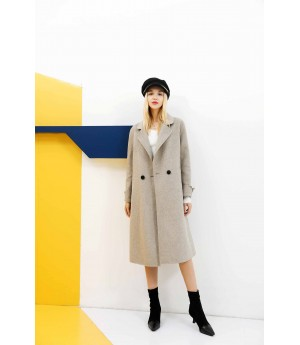 MacyMccoy pure wool double faced overcoat-Light caffee