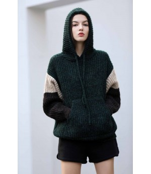 MacyMccoy split joint hooded sweater-blackish green