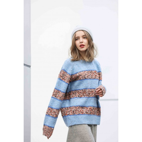 MacyMccoy Stripe Coloured Fragment Sweater-Blue