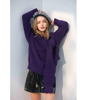 MacyMccoy Two sets of five-colour sweater around neck-Violet