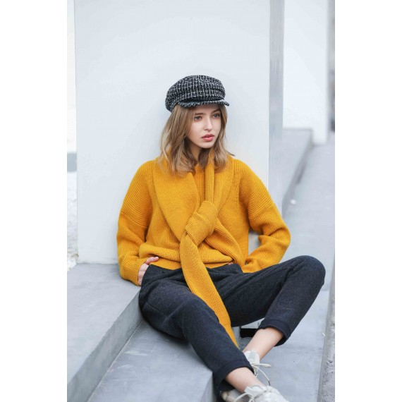 MacyMccoy Two sets of five-colour sweater around neck-Yellow