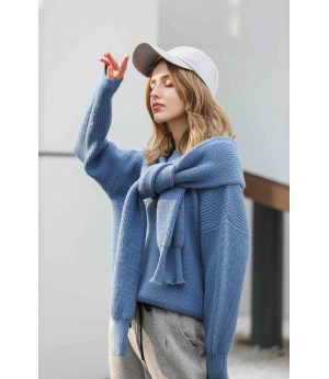MacyMccoy Two sets of five-colour sweater around neck-Blue