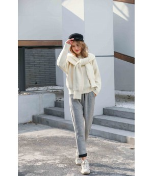 MacyMccoy Two sets of five-colour sweater around neck-White