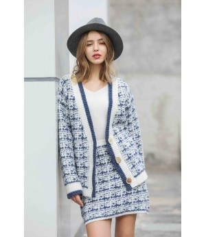 MacyMccoy Colour-impact checked cardigan half-skirt suit-Blue