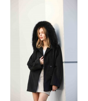 MacyMccoy Double-faced woolen coat with wool collar-Black
