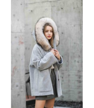 MacyMccoy Double-faced woolen coat with wool collar-Grey