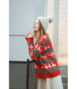 MacyMccoy Christmas sweaters-Greyish red