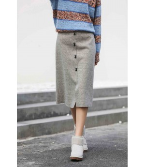 MacyMccoy Woolen long skirt-Grey
