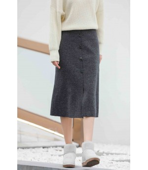 MacyMccoy Woolen long skirt-Black