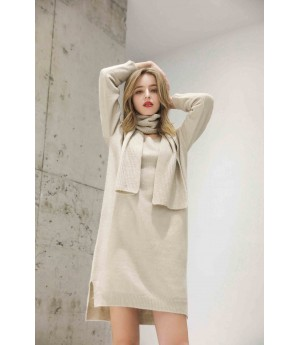 MacyMccoy V-neck sweater neck two-piece set-Beige