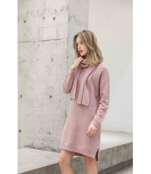 MacyMccoy V-neck sweater neck two-piece set-Pink