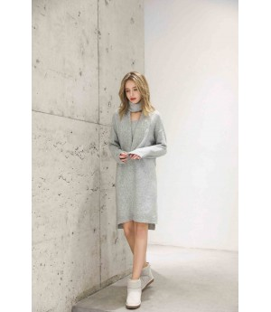 MacyMccoy V-neck sweater neck two-piece set-Grey
