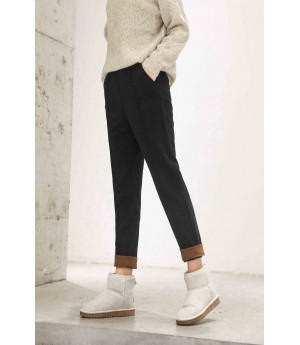 MacyMccoy Coloured flanged casual trousers-Black