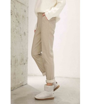 MacyMccoy Coloured flanged casual trousers-Beige