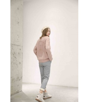 MacyMccoy Rhombic half-high collar sweater-Pink