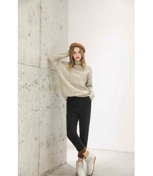 MacyMccoy Rhombic half-high collar sweater-Khaki