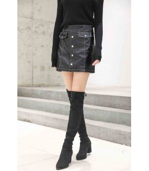 MacyMccoy Half leather skirt
