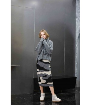 MacyMccoy Wool Scarf Half Skirt Three-piece Set-Gray