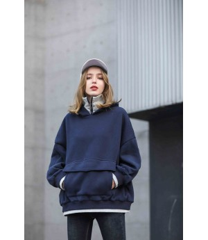 MacyMccoy Fake two sweaters with caps and velvet-Navy Blue