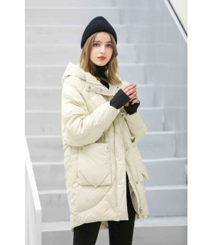 MacyMccoy Long-style down jacket with rope and cap-Beige