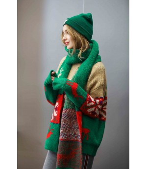 MacyMccoy Christmas sweater scarf suit-Green