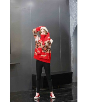 MacyMccoy Christmas sweater scarf suit-Red