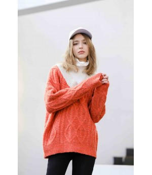 MacyMccoy Fake two colour-bumping turtlenecks-Red