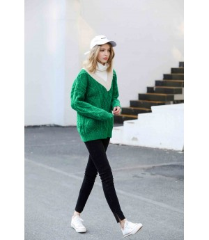 MacyMccoy Fake two colour-bumping turtlenecks-Green