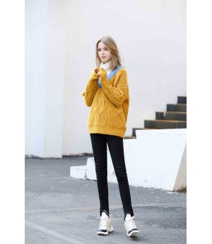 MacyMccoy Fake two colour-bumping turtlenecks-Yellow