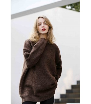 MacyMccoy Pure wool loose sweater-Coffee