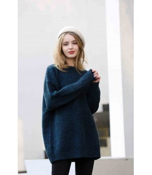 MacyMccoy Pure wool loose sweater-Navy Blue