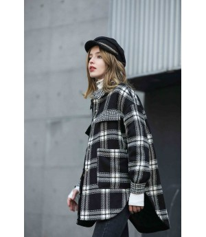 MacyMccoy Black and white checked cotton shirt coat