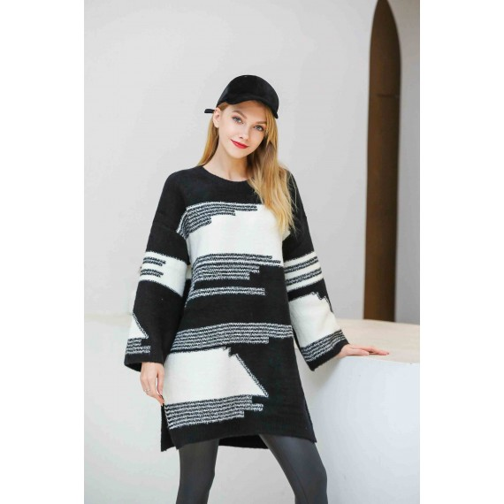MacyMccoy Black-and-white battered sweater skirt