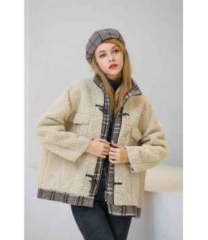MacyMccoy Lattice stitched Plush coat-Beige