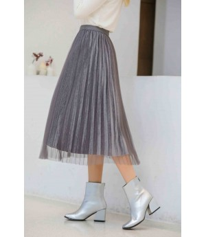 MacyMccoy Bling bright silk skirt-Gray