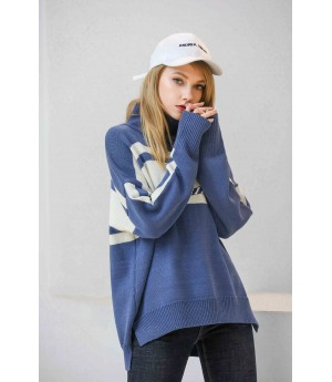 MacyMccoy Coloured half-high collar sweater-Blue