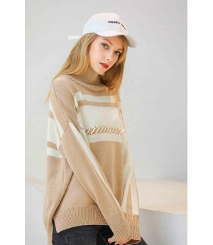 MacyMccoy Coloured half-high collar sweater-Beige