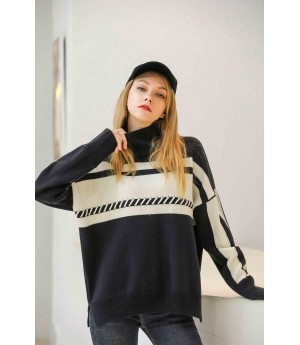 MacyMccoy Coloured half-high collar sweater-Black