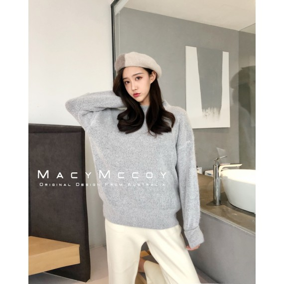 MacyMccoy Round Neck Sweater-Grey